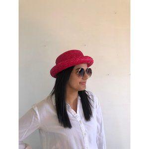 vtg pink hat, vintage straw hat, vtg summer hat